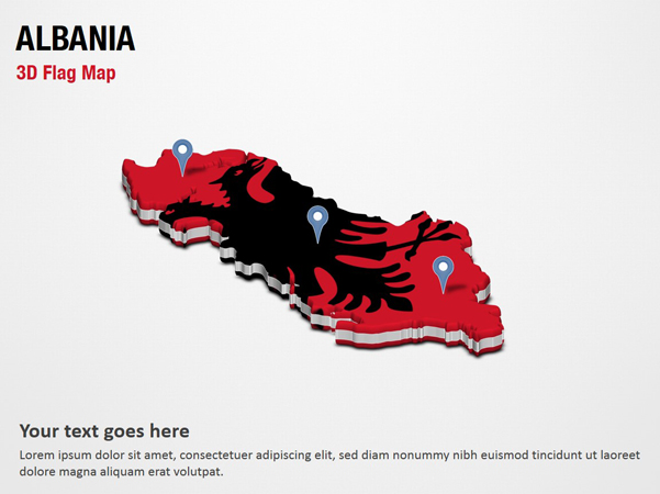 3D Section Map with Albania Flag