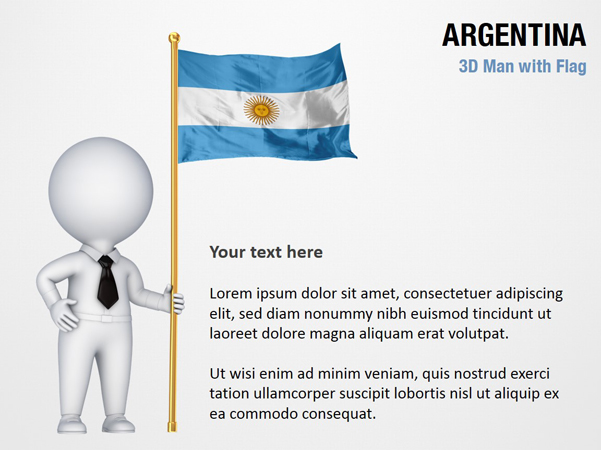 3D Man with Argentina Flag