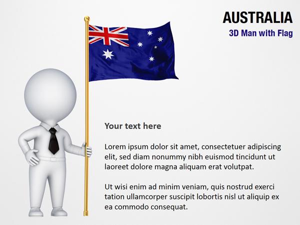 3D Man with Australia Flag