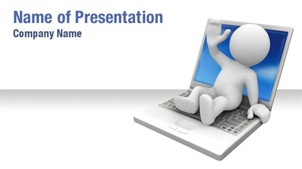 3D Man On Laptop Powerpoint Templates - 3D Man On Laptop