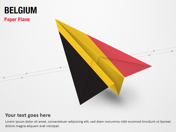 Paper Plane with Belgium Flag