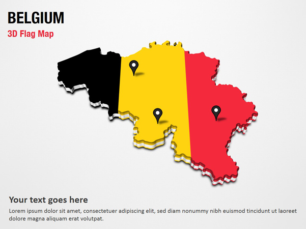 3D Section Map with Belgium Flag