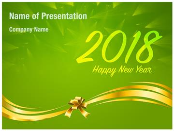 2018 New Year wishes on Green Background