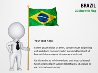 3D Man with Brazil Flag