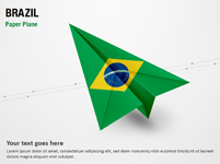 Paper Plane with Brazil Flag