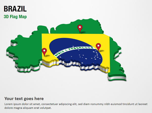 3D Section Map with Brazil Flag