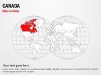 Canada Map on Globe