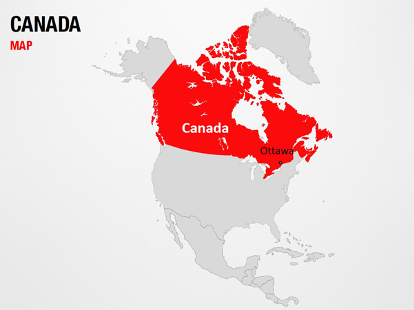 Canada on World Map PowerPoint Map Slides Canada on World Map Map PPT Slide