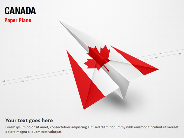 paper plane with canada flag powerpoint map slides paper. Black Bedroom Furniture Sets. Home Design Ideas