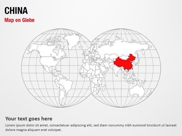China Map on Globe