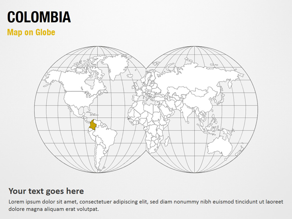 Colombia Map on Globe