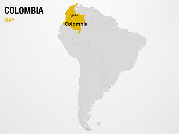 Colombia on World Map