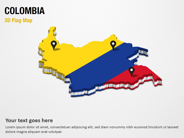 3D Section Map with Colombia Flag