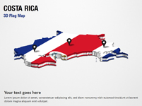 3D Section Map with Costa Rica Flag