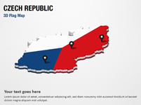 3D Section Map with Czech Republic Flag