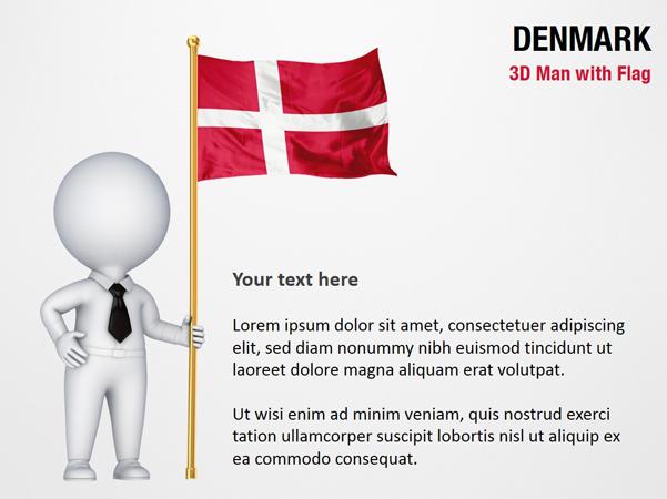 3D Man with Denmark Flag