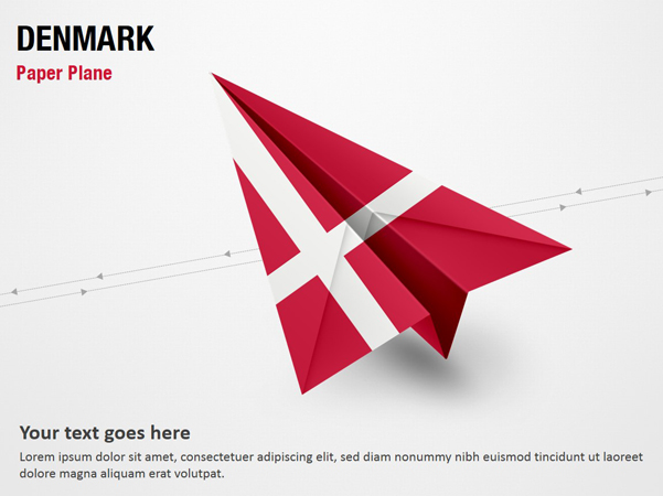 Paper Plane with Denmark Flag