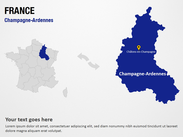 Champagne-Ardennes - France PowerPoint Map Slides - Champagne ... on