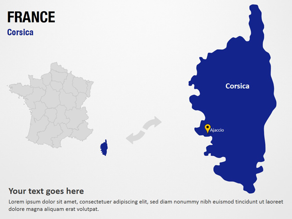Corsica France PowerPoint Map Slides PPT
