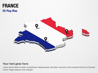 3D Section Map with France Flag