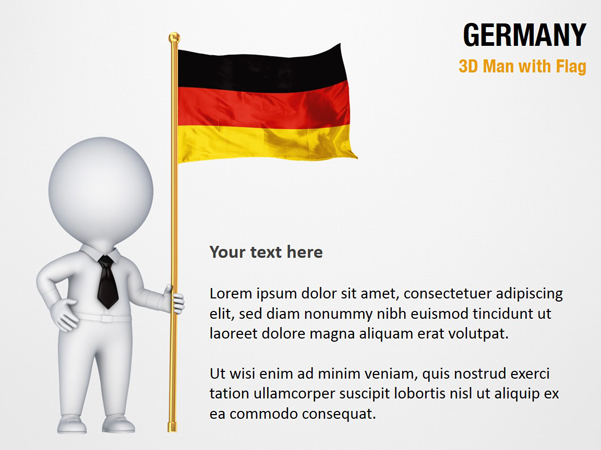 3d man with germany flag powerpoint map slides