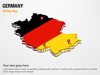 3D Section Map with Germany Flag