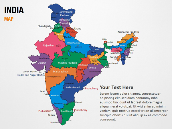 india map ppt template - india map powerpoint map slides india map map ppt slides
