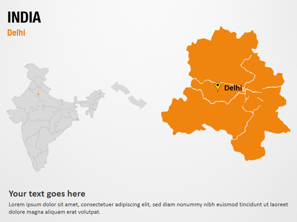Delhi - India PowerPoint Map Slides - Delhi - India Map PPT Slides on