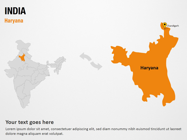 Haryana India  City new picture : Haryana India PowerPoint Map Slides Haryana India Map PPT Slides ...