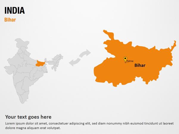 Bihar - India PowerPoint Map Slides - Bihar - India Map PPT Slides, on jamnagar india map, sanand india map, kutch india map, dandi india map, khasi hills india map, nadiad india map, anand india map, vadodara india map, rajkot india map, cambay india map, gujarat india map, naroda india map, raipur india map, porbandar india map, surat india map, ahmedabad india map,