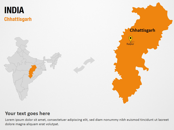 india map ppt template - chhattisgarh india powerpoint map slides chhattisgarh