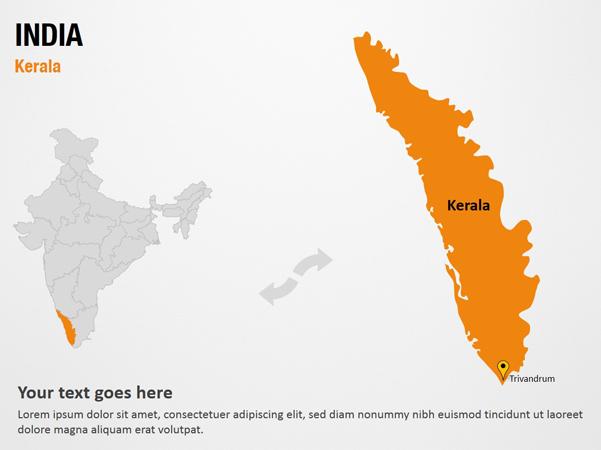 Kerala - India PowerPoint Map Slides - Kerala - India Map PPT Slides,  PowerPoint Map Slides of Kerala - India, PowerPoint Map Templates