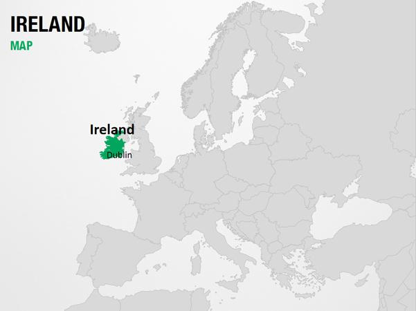 Ireland on World Map PowerPoint Map Slides Ireland on World Map Map PPT Sli