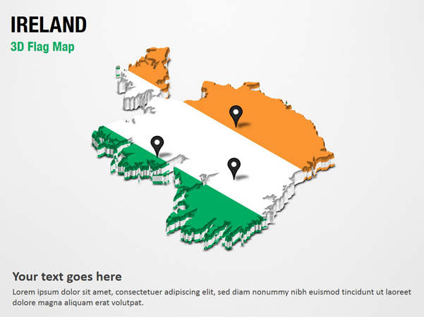 3D Section Map with Ireland Flag