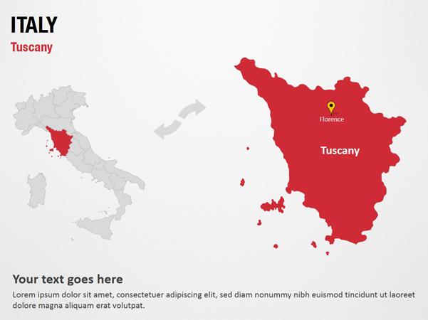 Tuscany - Italy PowerPoint Map Slides - Tuscany - Italy Map PPT ...