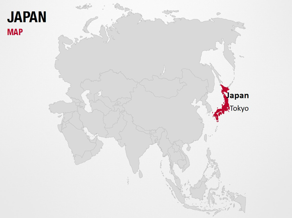 Japan on World Map PowerPoint Map Slides Japan on World Map Map PPT Slides