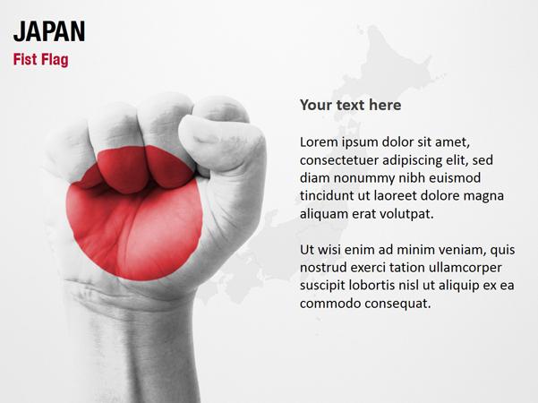 japan fist flag powerpoint map slides