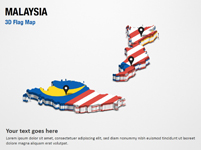 3D Section Map with Malaysia Flag