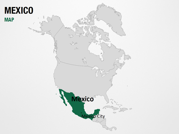 Mexico on World Map PowerPoint Map Slides