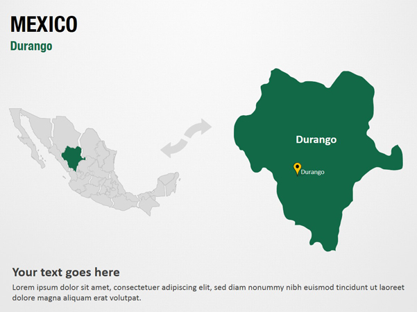state of durango mexico map Durango Mexico Powerpoint Map Slides Durango Mexico Map