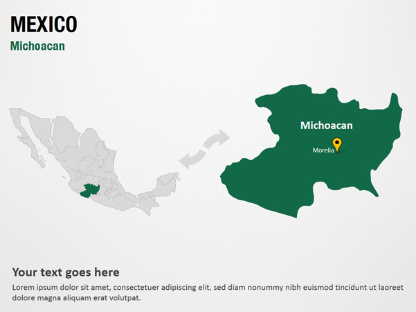 Michoacan - Mexico PowerPoint Map Slides - Michoacan ...
