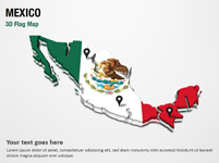 3D Section Map with Mexico Flag