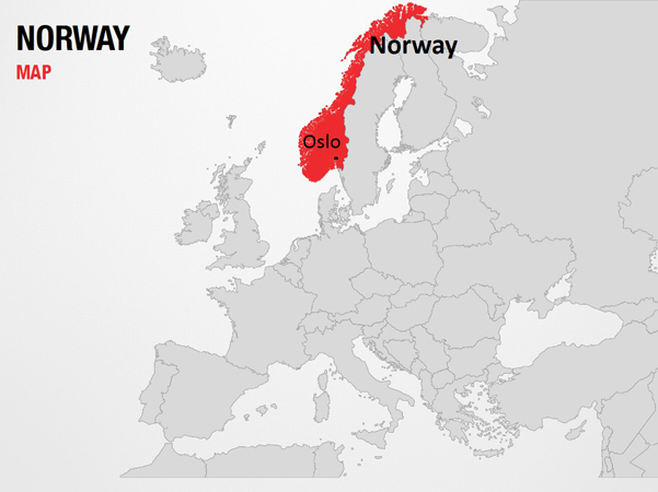 Norway on World Map PowerPoint Map Slides - Norway on World Map Map PPT  Slides, PowerPoint Map Slides of Norway on World Map, PowerPoint Map  Templates