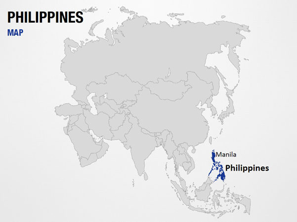 Philippines on World Map PowerPoint Map Slides - Philippines on World Map  Map PPT Slides, PowerPoint Map Slides of Philippines on World Map,