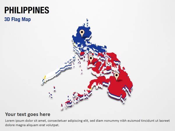 3D Section Map with Philippines Flag