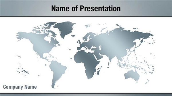 Silver World Map PowerPoint Template Backgrounds