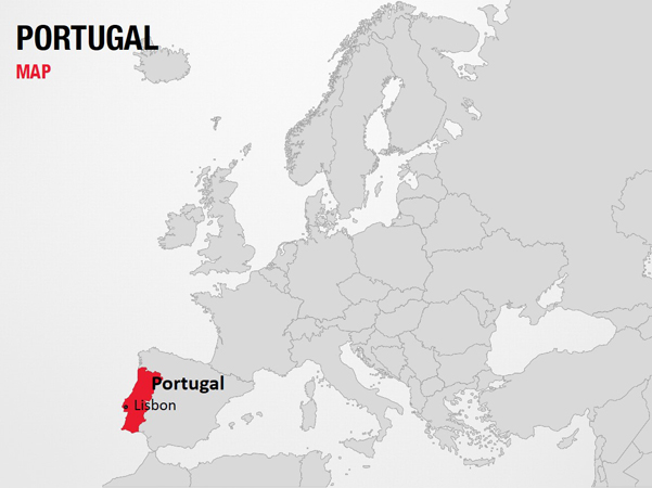 Portugal on World Map