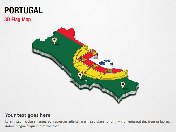 3D Section Map with Portugal Flag
