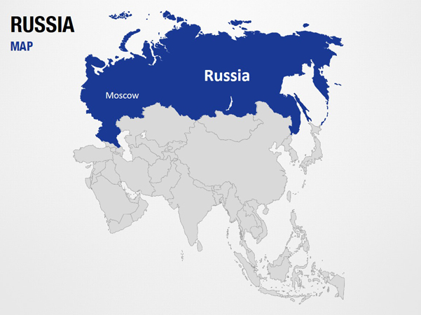 russia on world map powerpoint map slides