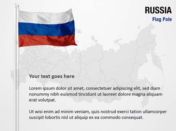 Russia Flag Pole    PowerPoint    Map Slides  Russia Flag Pole